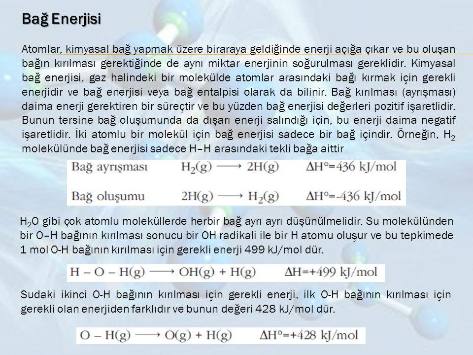 Bağ Enerjisi Atomlar, kimyasal bağ yapmak üzere biraraya geldiğinde enerji açığa çıkar ve bu oluşan bağın kırılması gerektiğinde de aynı miktar enerji