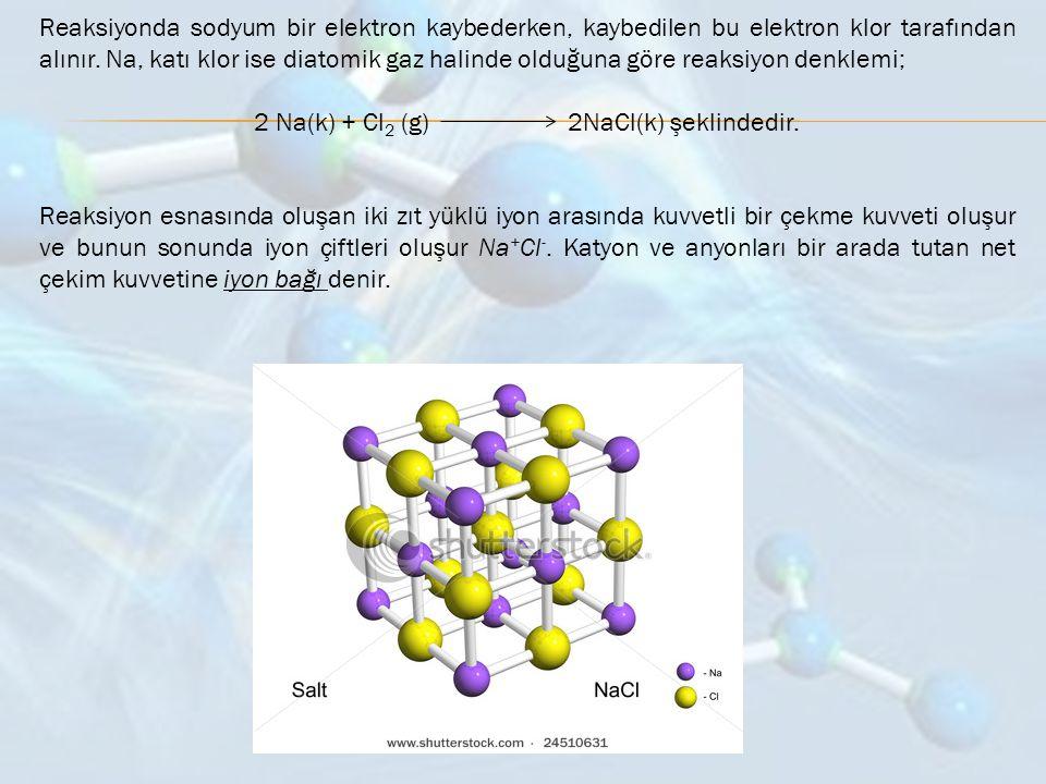 Reaksiyonda sodyum bir elektron kaybederken, kaybedilen bu elektron klor tarafından alınır. Na, katı klor ise diatomik gaz halinde olduğuna göre reaks
