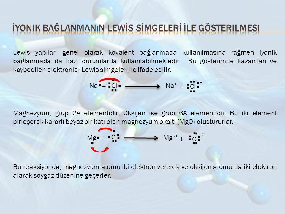 Lewis yapıları genel olarak kovalent bağlanmada kullanılmasına rağmen iyonik bağlanmada da bazı durumlarda kullanılabilmektedir. Bu gösterimde kazanıl