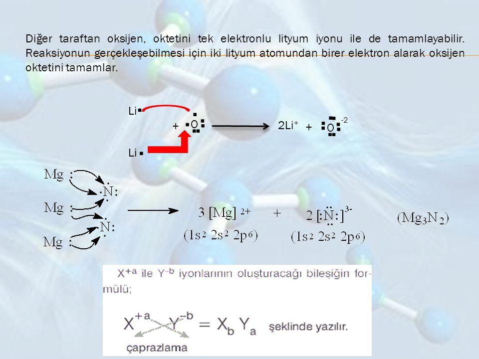 Diğer taraftan oksijen, oktetini tek elektronlu lityum iyonu ile de tamamlayabilir. Reaksiyonun gerçekleşebilmesi için iki lityum atomundan birer elek