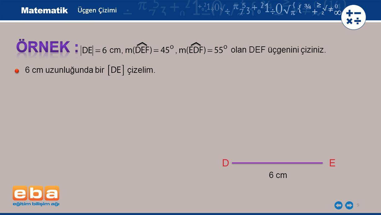 20 Üç kenar uzunluğu, iki kenar uzunluğu ile bu kenar arasındaki açının ölçüsü veya bir kenarının uzunluğu ile iki açısının ölçüsü verilen bir üçgen cetvel, açıölçer ve pergel kullanılarak çizilebilir.