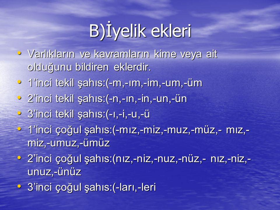 14)Aşağıdaki cümlelerden hangisinde hem yapım hem çekim eki almış bir sözcük kullanılmıştır .