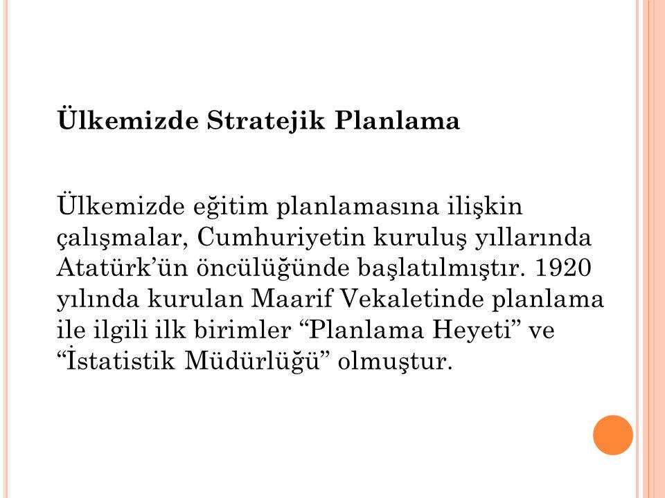 Ülkemizde eğitim planlamasına ilişkin çalışmalar, Cumhuriyetin kuruluş yıllarında Atatürk'ün öncülüğünde başlatılmıştır.