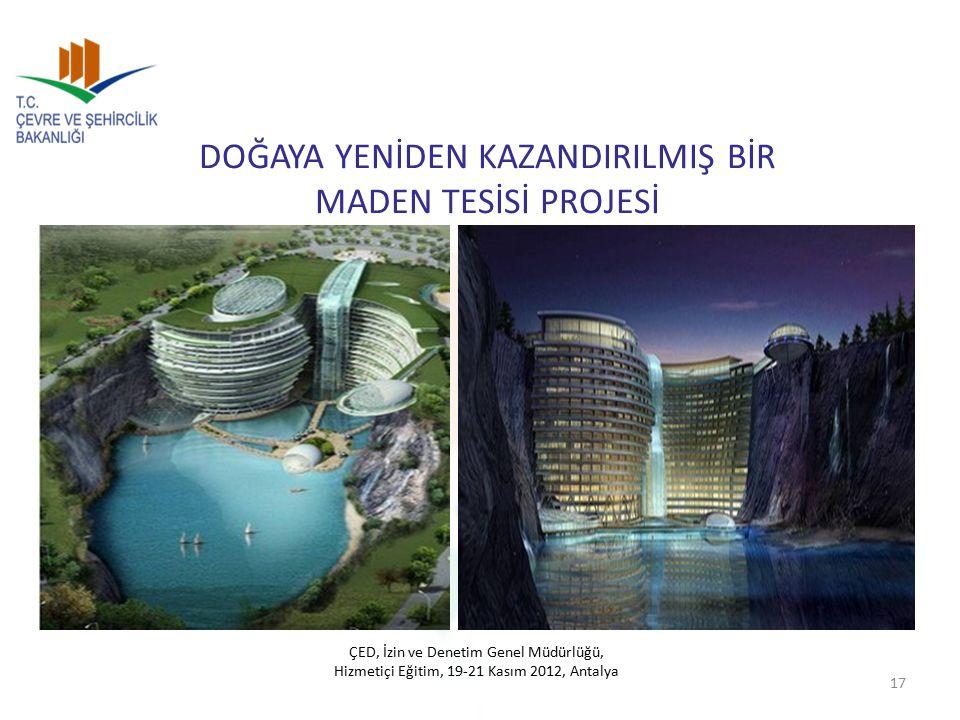 DOĞAYA YENİDEN KAZANDIRILMIŞ BİR MADEN TESİSİ PROJESİ 17 ÇED, İzin ve Denetim Genel Müdürlüğü, Hizmetiçi Eğitim, 19-21 Kasım 2012, Antalya