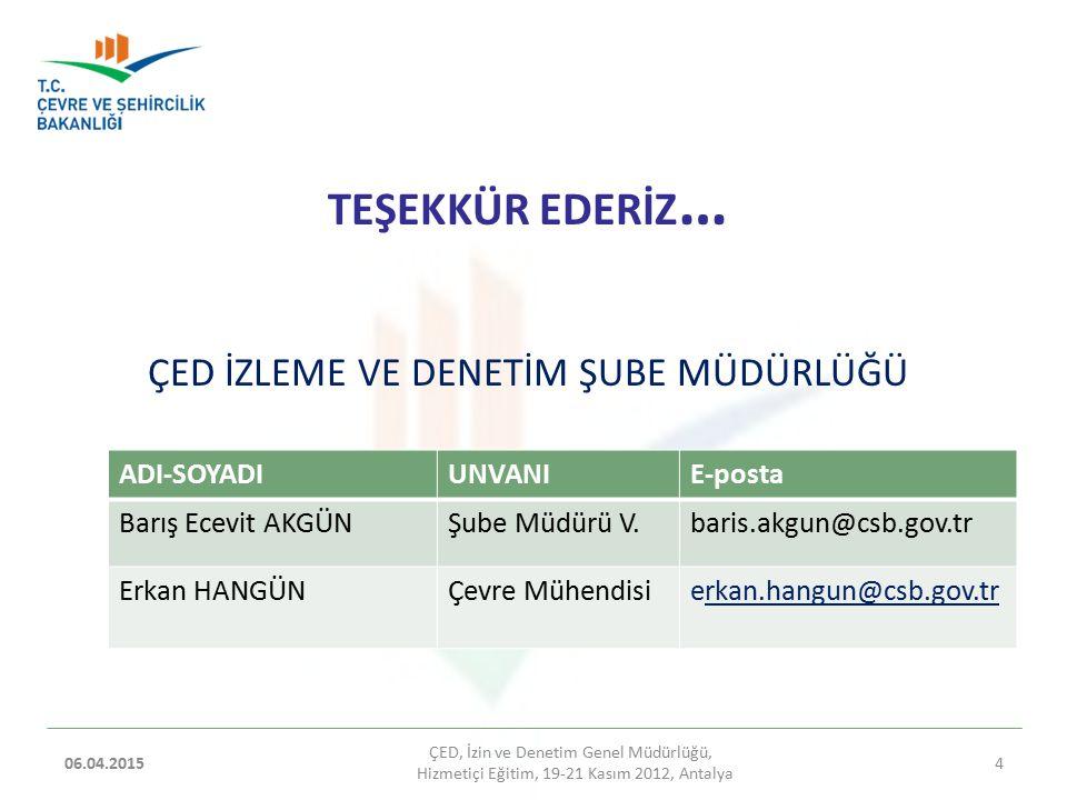 TEŞEKKÜR EDERİZ … ÇED İZLEME VE DENETİM ŞUBE MÜDÜRLÜĞÜ 06.04.2015 ÇED, İzin ve Denetim Genel Müdürlüğü, Hizmetiçi Eğitim, 19-21 Kasım 2012, Antalya 4