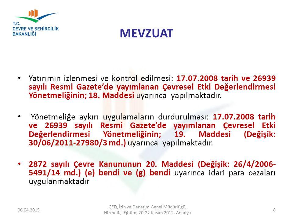 MEVZUAT Yatırımın izlenmesi ve kontrol edilmesi: 17.07.2008 tarih ve 26939 sayılı Resmi Gazete'de yayımlanan Çevresel Etki Değerlendirmesi Yönetmeliği