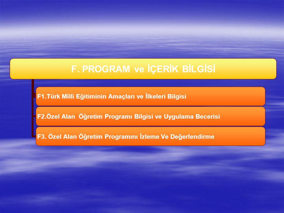 F. PROGRAM ve İÇERİK BİLGİSİ F1.Türk Mîlli Eğitiminin Amaçları ve İlkeleri Bilgisi F2.Özel Alan Öğretim Programı Bilgisi ve Uygulama Becerisi F3. Özel