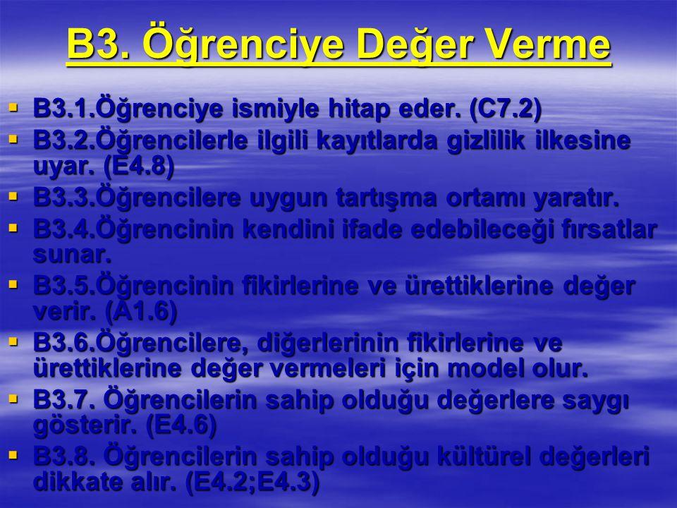 B3.Öğrenciye Değer Verme  B3.1.Öğrenciye ismiyle hitap eder.