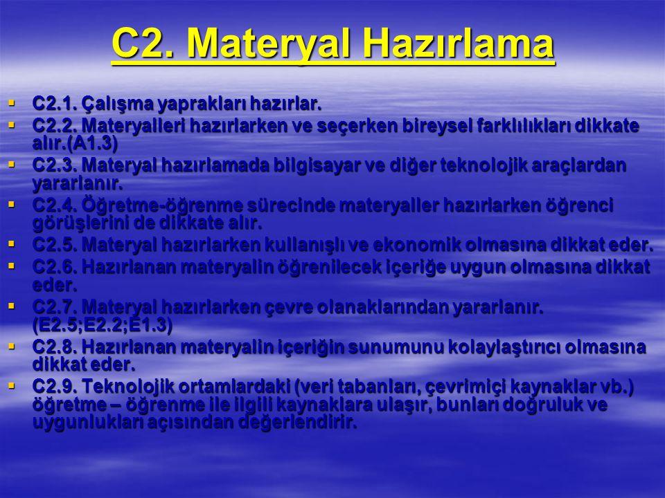 C2.Materyal Hazırlama  C2.1. Çalışma yaprakları hazırlar.
