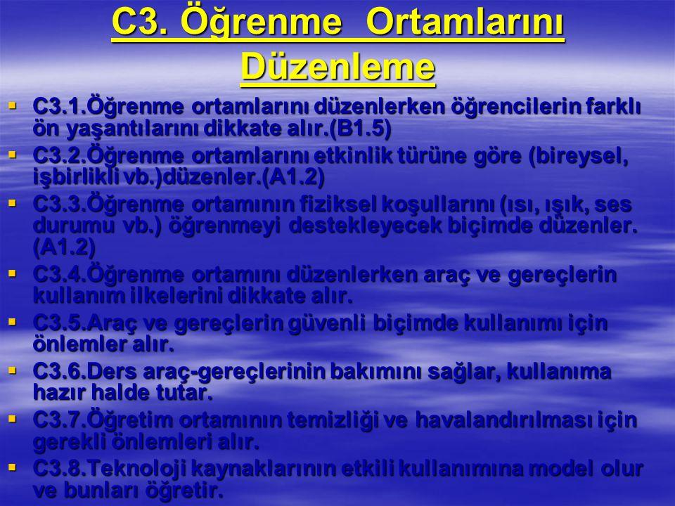 C3. Öğrenme Ortamlarını Düzenleme  C3.1.Öğrenme ortamlarını düzenlerken öğrencilerin farklı ön yaşantılarını dikkate alır.(B1.5)  C3.2.Öğrenme ortam