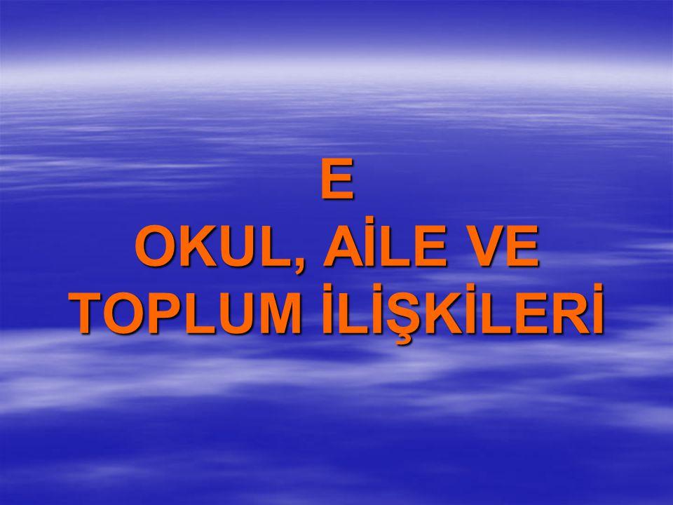 E OKUL, AİLE VE TOPLUM İLİŞKİLERİ