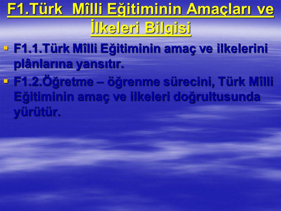 F1.Türk Mîlli Eğitiminin Amaçları ve İlkeleri Bilgisi  F1.1.Türk Mîlli Eğitiminin amaç ve ilkelerini plânlarına yansıtır.
