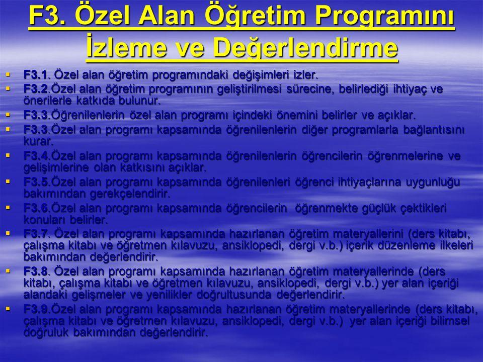 F3.Özel Alan Öğretim Programını İzleme ve Değerlendirme  F3.1.