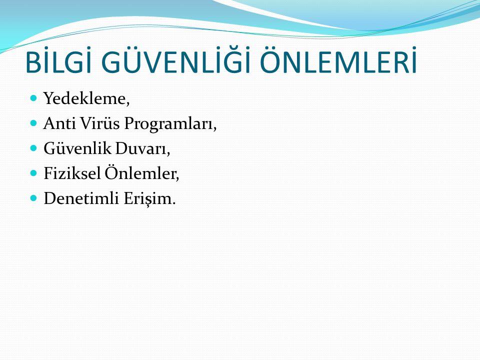Yedekleme, Anti Virüs Programları, Güvenlik Duvarı, Fiziksel Önlemler, Denetimli Erişim.
