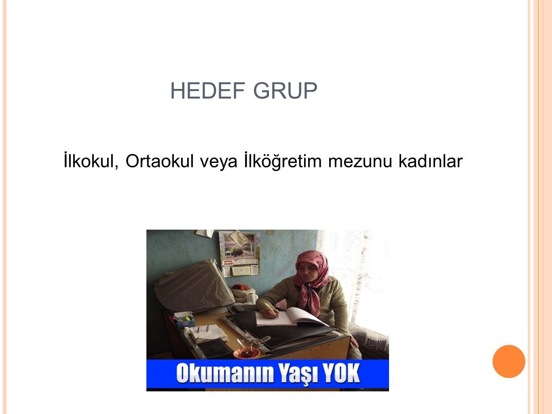 HEDEF GRUP İlkokul, Ortaokul veya İlköğretim mezunu kadınlar