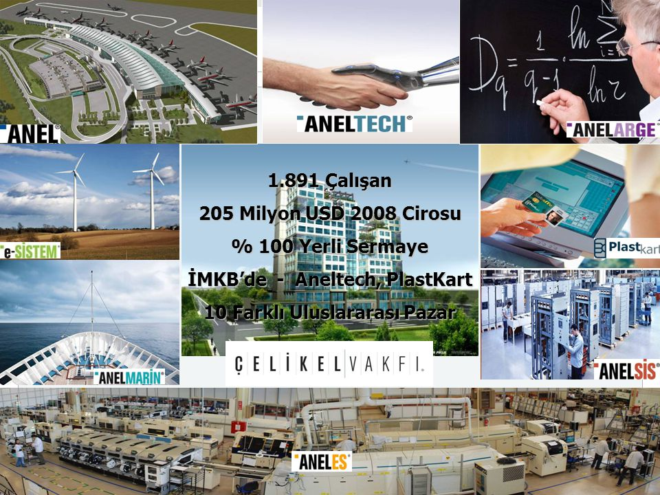 1.891 Çalışan 205 Milyon USD 2008 Cirosu % 100 Yerli Sermaye İMKB'de - Aneltech, PlastKart 10 Farklı Uluslararası Pazar