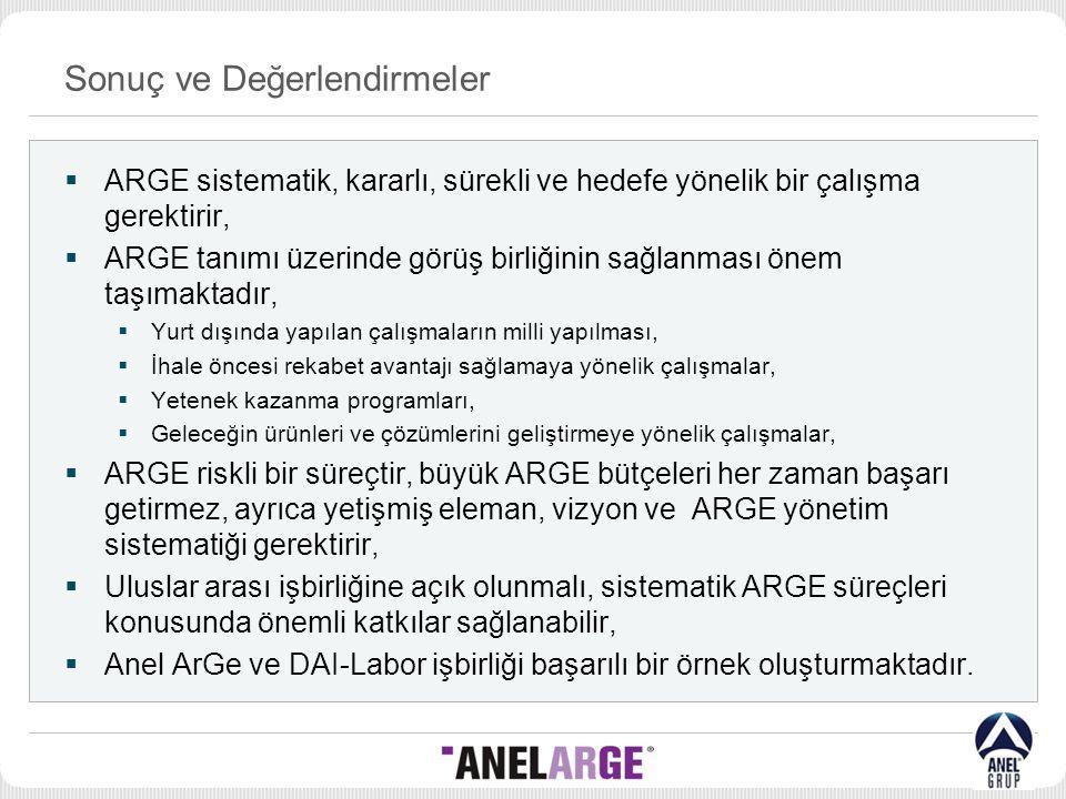 Sonuç ve Değerlendirmeler  ARGE sistematik, kararlı, sürekli ve hedefe yönelik bir çalışma gerektirir,  ARGE tanımı üzerinde görüş birliğinin sağlan