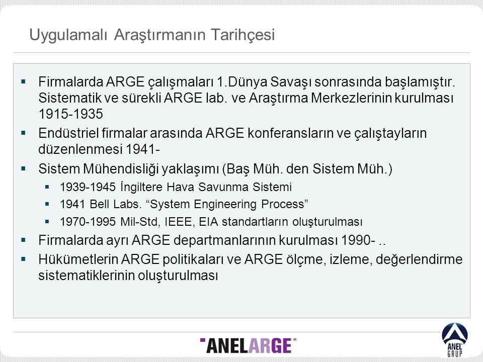 Uygulamalı Araştırmanın Tarihçesi  Firmalarda ARGE çalışmaları 1.Dünya Savaşı sonrasında başlamıştır. Sistematik ve sürekli ARGE lab. ve Araştırma Me