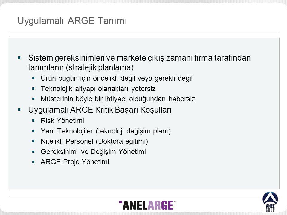 Uygulamalı ARGE Tanımı  Sistem gereksinimleri ve markete çıkış zamanı firma tarafından tanımlanır (stratejik planlama)  Ürün bugün için öncelikli de
