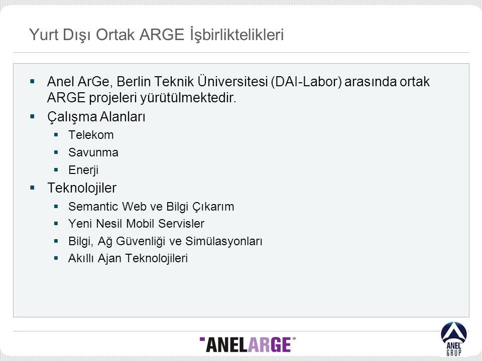 Yurt Dışı Ortak ARGE İşbirliktelikleri  Anel ArGe, Berlin Teknik Üniversitesi (DAI-Labor) arasında ortak ARGE projeleri yürütülmektedir.  Çalışma Al
