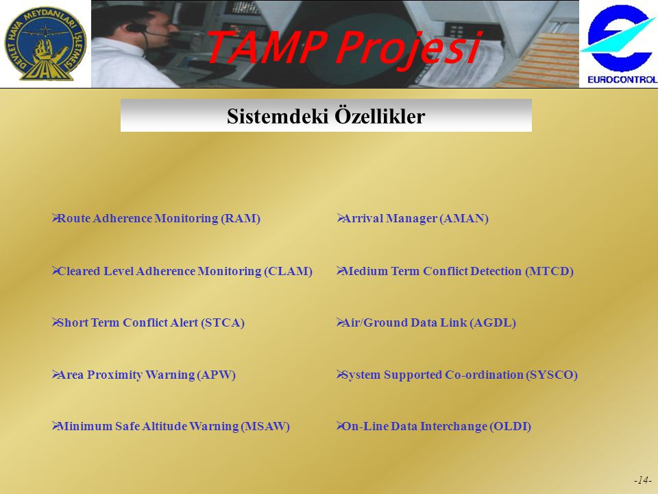 TAMP Projesi -14- Sistemdeki Özellikler  Route Adherence Monitoring (RAM)  Cleared Level Adherence Monitoring (CLAM)  Short Term Conflict Alert (STCA)  Area Proximity Warning (APW)  Minimum Safe Altitude Warning (MSAW)  On-Line Data Interchange (OLDI)  Arrival Manager (AMAN)  Medium Term Conflict Detection (MTCD)  Air/Ground Data Link (AGDL)  System Supported Co-ordination (SYSCO)