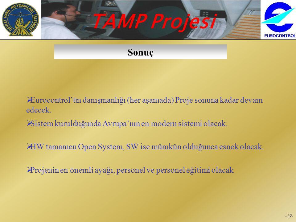 TAMP Projesi -18- Eğitim 1. SafhaCSG (Controller Support Group)'un Eğitilmesi 2. SafhaDetaylı eğitim planı ve dökümanlarının hazırlanması 3. SafhaBütü