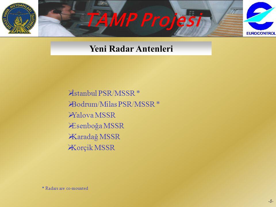TAMP Projesi -7--7- Mevcut Radar Antenleri  Akdağ MSSR  Antalya PSR/MSSR *  Başpınar MSSR  Batman MSSR  Dalaman PSR/MSSR *  Esenboğa PSR  Ermen
