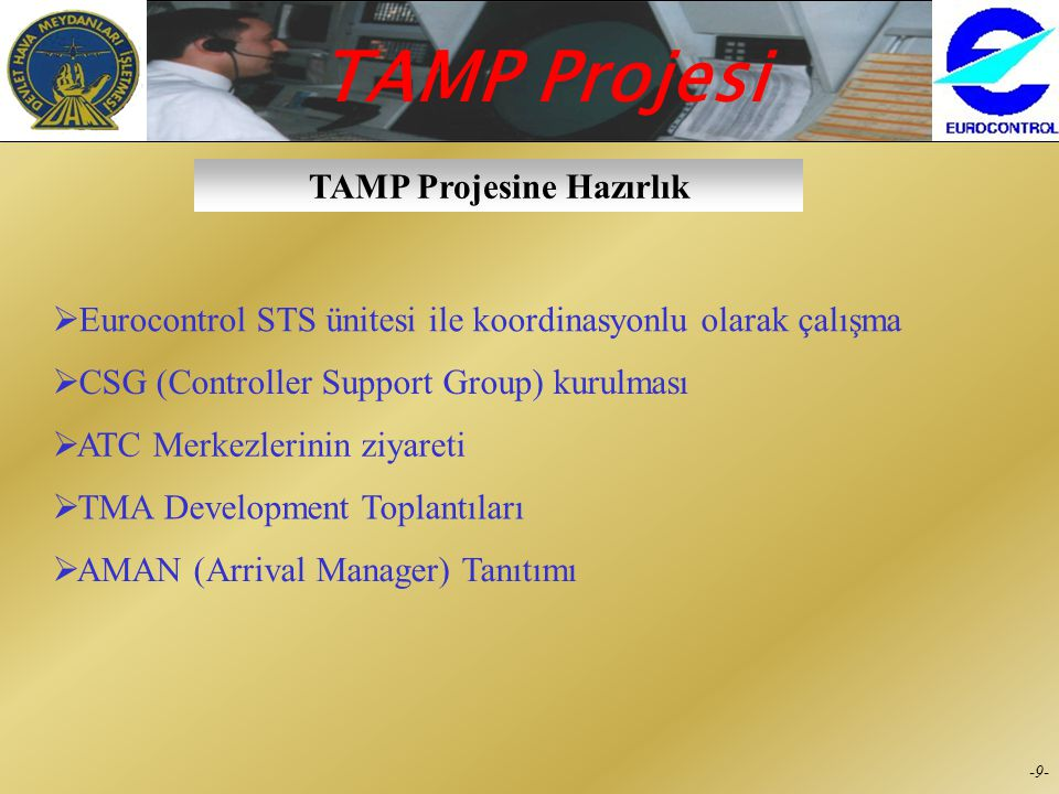 TAMP Projesi -8--8- Yeni Radar Antenleri  İstanbul PSR/MSSR *  Bodrum/Milas PSR/MSSR *  Yalova MSSR  Esenboğa MSSR  Karadağ MSSR  Korçik MSSR *