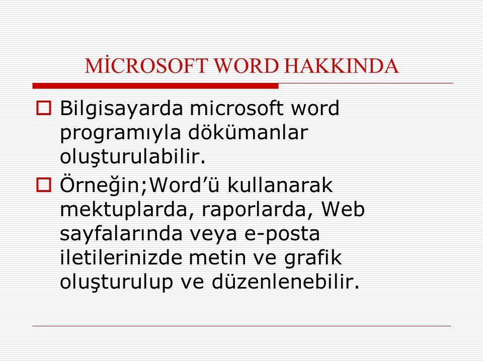MİCROSOFT WORD HAKKINDA  Bilgisayarda microsoft word programıyla dökümanlar oluşturulabilir.  Örneğin;Word'ü kullanarak mektuplarda, raporlarda, Web