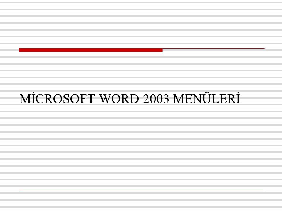 MİCROSOFT WORD 2003 MENÜLERİ