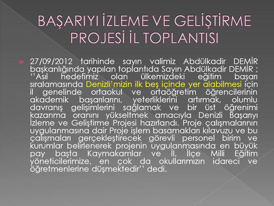  27/09/2012 tarihinde sayın valimiz Abdülkadir DEMİR başkanlığında yapılan toplantıda Sayın Abdülkadir DEMİR ; ''Asıl hedefimiz olan ülkemizdeki eğit