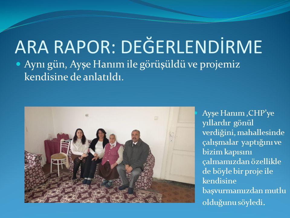 ARA RAPOR: DEĞERLENDİRME Ayşe Hanım,CHP'ye yıllardır gönül verdiğini, mahallesinde çalışmalar yaptığını ve bizim kapısını çalmamızdan özellikle de böyle bir proje ile kendisine başvurmamızdan mutlu olduğunu söyledi.