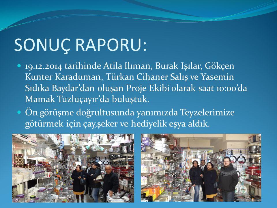 SONUÇ RAPORU: 19.12.2014 tarihinde Atila Ilıman, Burak Işılar, Gökçen Kunter Karaduman, Türkan Cihaner Salış ve Yasemin Sıdıka Baydar'dan oluşan Proje