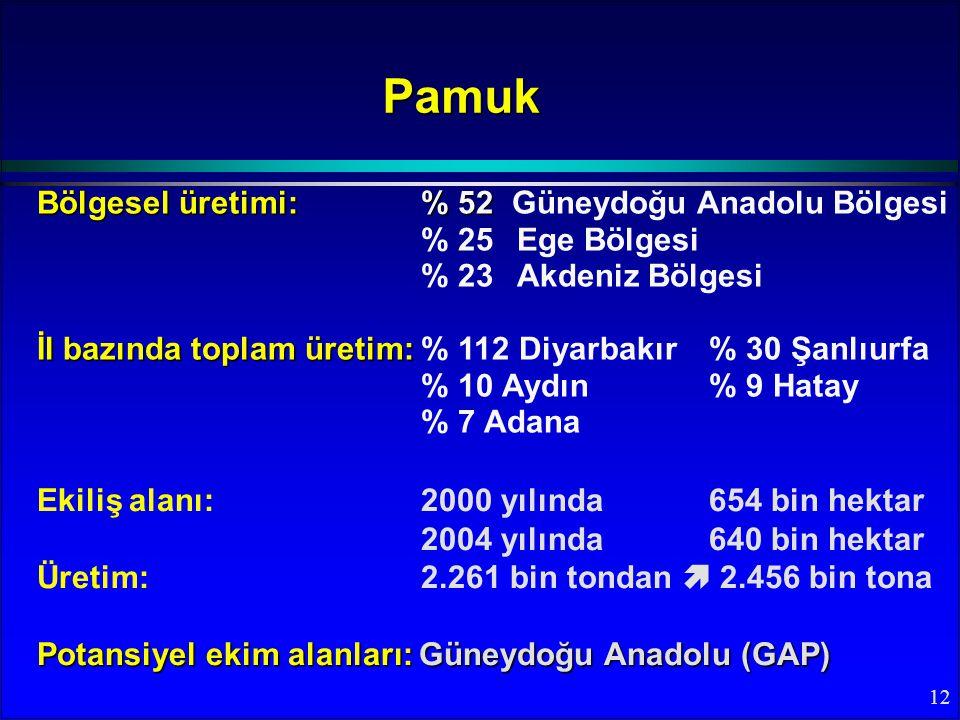 12 Bölgesel üretimi:% 52 Bölgesel üretimi:% 52 Güneydoğu Anadolu Bölgesi % 25Ege Bölgesi % 23Akdeniz Bölgesi İl bazında toplam üretim: İl bazında toplam üretim:% 112 Diyarbakır % 30 Şanlıurfa % 10 Aydın% 9 Hatay % 7 Adana Pamuk Ekiliş alanı: 2000 yılında 654 bin hektar 2004 yılında 640 bin hektar Üretim: 2.261 bin tondan  2.456 bin tona Potansiyel ekim alanları: Güneydoğu Anadolu (GAP)