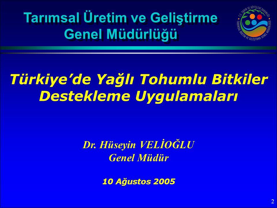 2 Türkiye'de Yağlı Tohumlu Bitkiler Destekleme Uygulamaları Tarımsal Üretim ve Geliştirme Genel Müdürlüğü Dr.