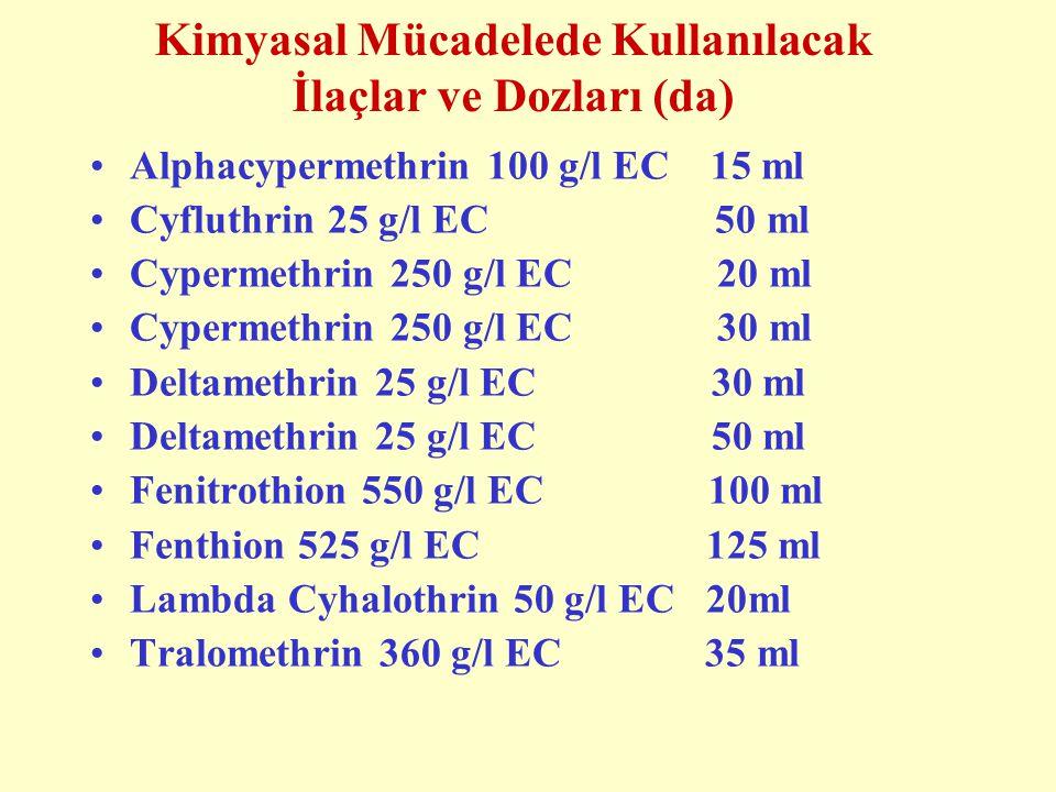 Kimyasal Mücadelede Kullanılacak İlaçlar ve Dozları (da) Alphacypermethrin 100 g/l EC 15 ml Cyfluthrin 25 g/l EC 50 ml Cypermethrin 250 g/l EC 20 ml Cypermethrin 250 g/l EC 30 ml Deltamethrin 25 g/l EC 30 ml Deltamethrin 25 g/l EC 50 ml Fenitrothion 550 g/l EC 100 ml Fenthion 525 g/l EC 125 ml Lambda Cyhalothrin 50 g/l EC 20ml Tralomethrin 360 g/l EC 35 ml