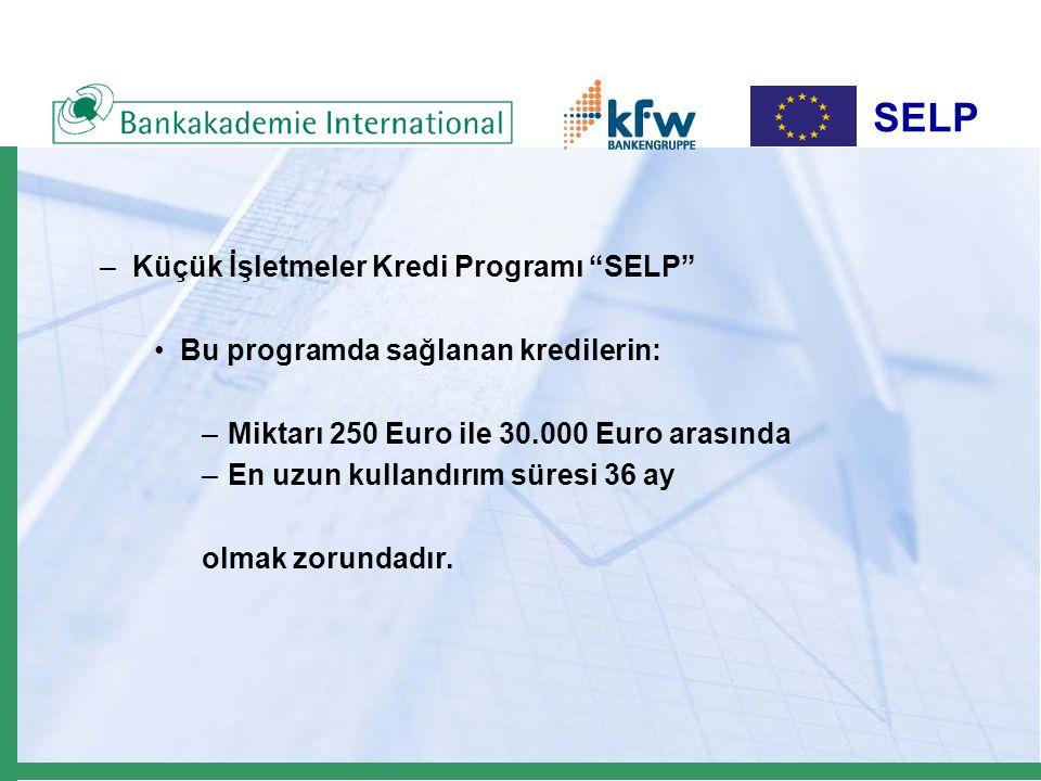 """SELP –Küçük İşletmeler Kredi Programı """"SELP"""" Bu programda sağlanan kredilerin: –Miktarı 250 Euro ile 30.000 Euro arasında –En uzun kullandırım süresi"""