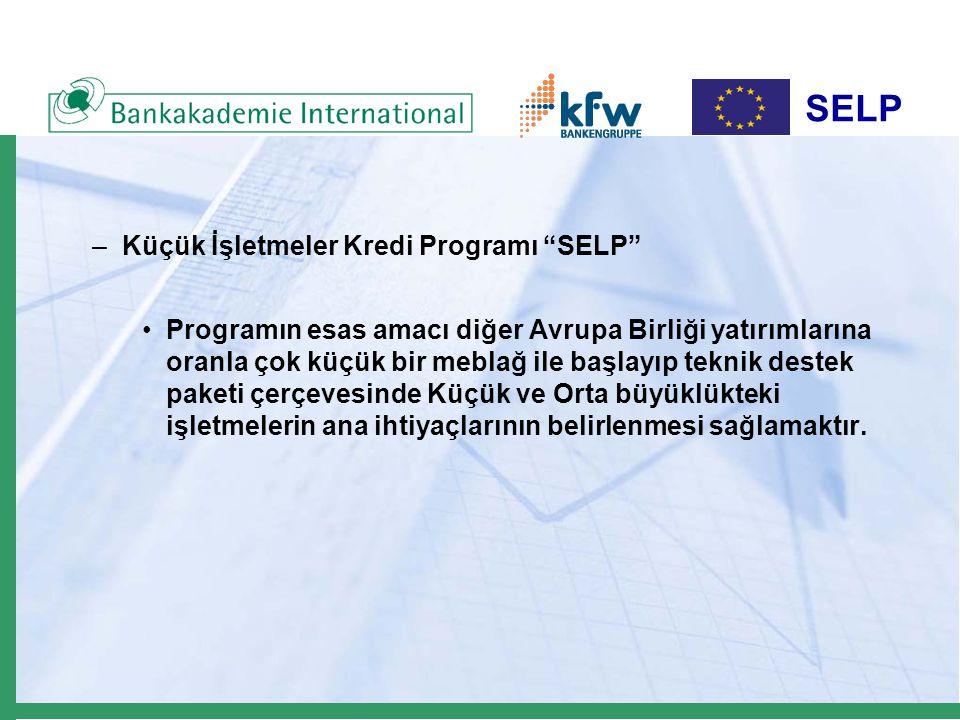 SELP –Küçük İşletmeler Kredi Programı SELP Programın esas amacı diğer Avrupa Birliği yatırımlarına oranla çok küçük bir meblağ ile başlayıp teknik destek paketi çerçevesinde Küçük ve Orta büyüklükteki işletmelerin ana ihtiyaçlarının belirlenmesi sağlamaktır.