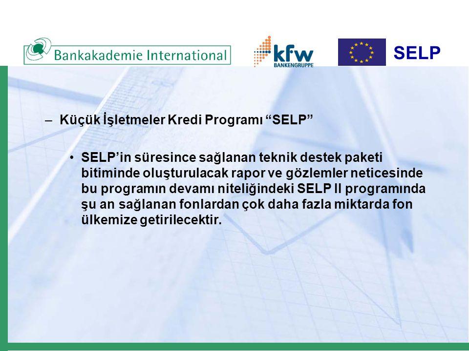SELP –Küçük İşletmeler Kredi Programı SELP SELP'in süresince sağlanan teknik destek paketi bitiminde oluşturulacak rapor ve gözlemler neticesinde bu programın devamı niteliğindeki SELP II programında şu an sağlanan fonlardan çok daha fazla miktarda fon ülkemize getirilecektir.