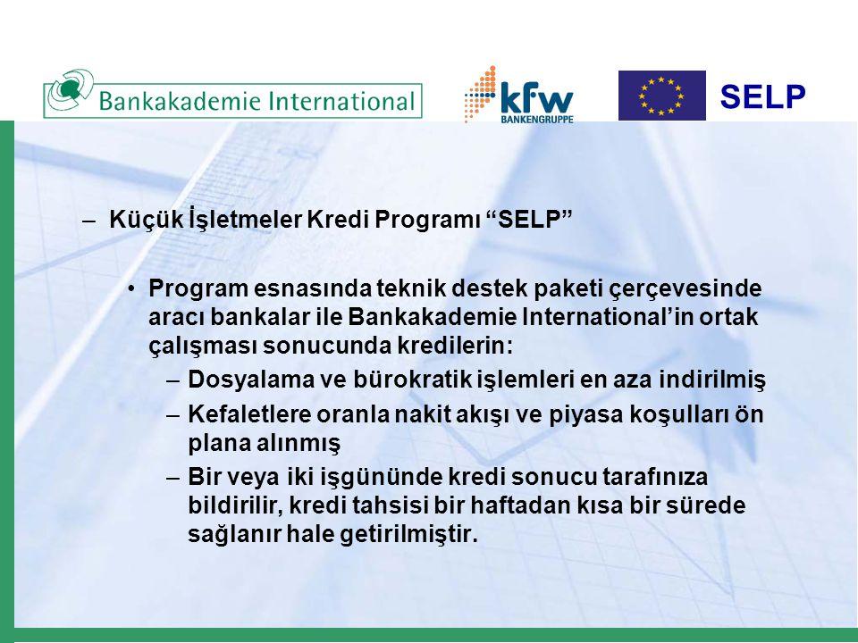 SELP –Küçük İşletmeler Kredi Programı SELP Program esnasında teknik destek paketi çerçevesinde aracı bankalar ile Bankakademie International'in ortak çalışması sonucunda kredilerin: –Dosyalama ve bürokratik işlemleri en aza indirilmiş –Kefaletlere oranla nakit akışı ve piyasa koşulları ön plana alınmış –Bir veya iki işgününde kredi sonucu tarafınıza bildirilir, kredi tahsisi bir haftadan kısa bir sürede sağlanır hale getirilmiştir.