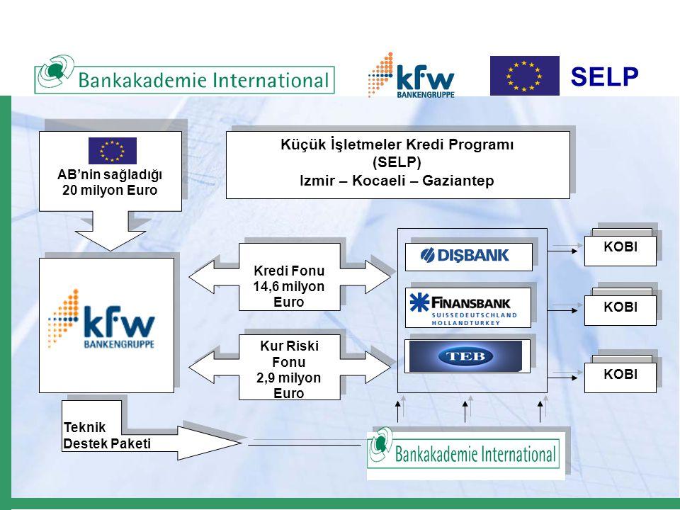 SELP Kredi Fonu 14,6 milyon Euro Kredi Fonu 14,6 milyon Euro Kur Riski Fonu 2,9 milyon Euro Kur Riski Fonu 2,9 milyon Euro AB'nin sağladığı 20 milyon