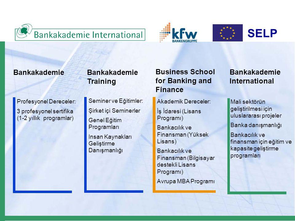 SELP ëTicari banka danışmanlık ve eğitimi ë Merkez bankası ve banka gözetimi danışmanlığı ve eğitimi  Mali sektör destek kurumları: Mevduat sigorta fonları, banka eğitim enstitüleri vb.