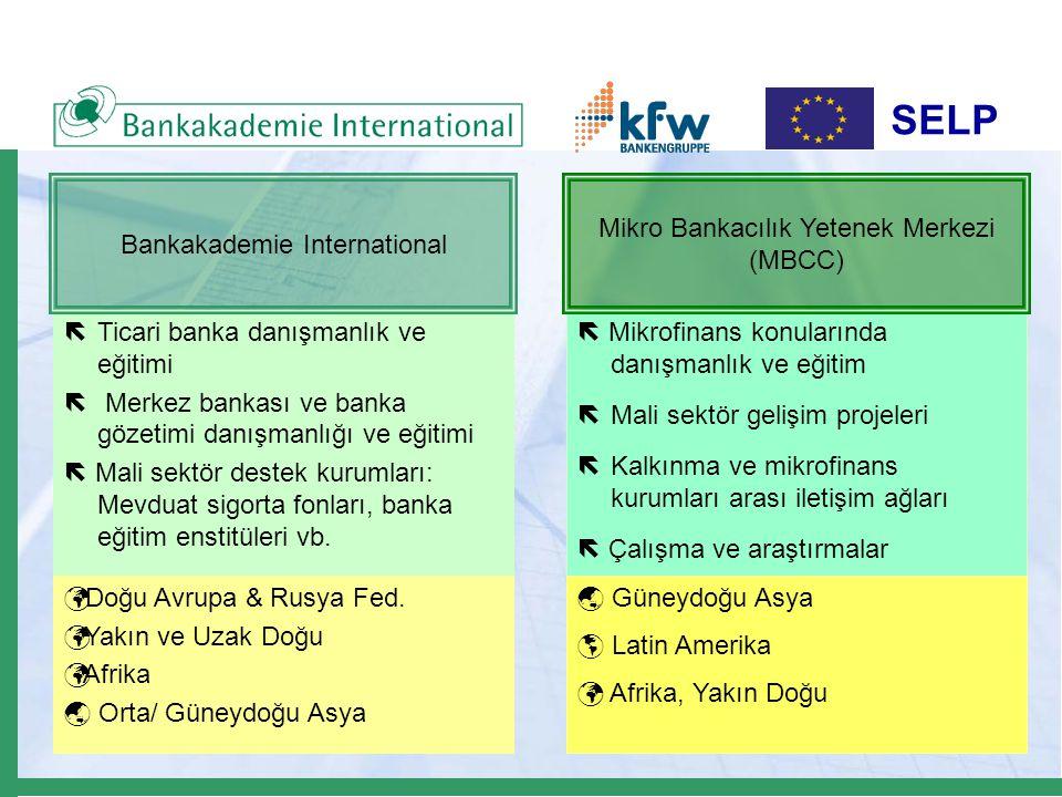 SELP ëTicari banka danışmanlık ve eğitimi ë Merkez bankası ve banka gözetimi danışmanlığı ve eğitimi  Mali sektör destek kurumları: Mevduat sigorta f