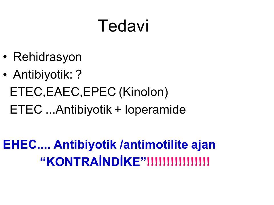"Tedavi Rehidrasyon Antibiyotik: ? ETEC,EAEC,EPEC (Kinolon) ETEC...Antibiyotik + loperamide EHEC.... Antibiyotik /antimotilite ajan ""KONTRAİNDİKE""!!!!!"