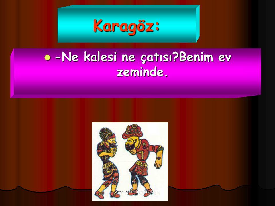 Karagöz: -Ne kalesi ne çatısı?Benim ev zeminde. -Ne kalesi ne çatısı?Benim ev zeminde. www.egitimcininadresi.com