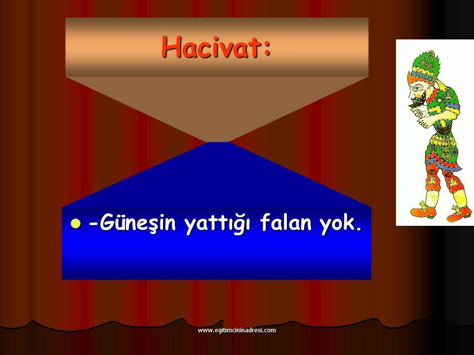 Hacivat: -Güneşin yattığı falan yok. -Güneşin yattığı falan yok. www.egitimcininadresi.com