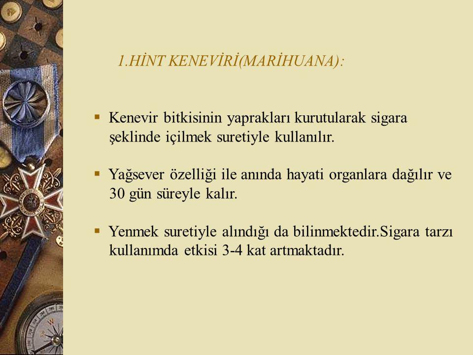 1.HİNT KENEVİRİ(MARİHUANA):  Kenevir bitkisinin yaprakları kurutularak sigara şeklinde içilmek suretiyle kullanılır.  Yağsever özelliği ile anında h