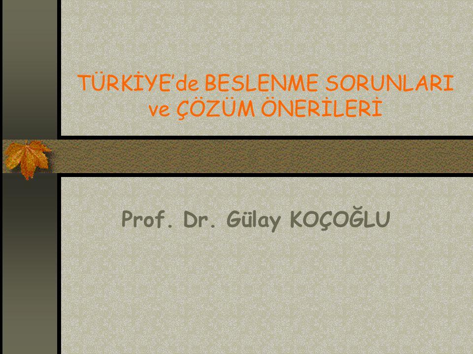 TÜRKİYE'de BESLENME SORUNLARI ve ÇÖZÜM ÖNERİLERİ Prof. Dr. Gülay KOÇOĞLU