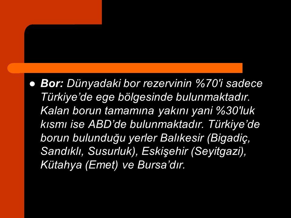 Bor: Dünyadaki bor rezervinin %70′i sadece Türkiye'de ege bölgesinde bulunmaktadır. Kalan borun tamamına yakını yani %30′luk kısmı ise ABD'de bulunmak