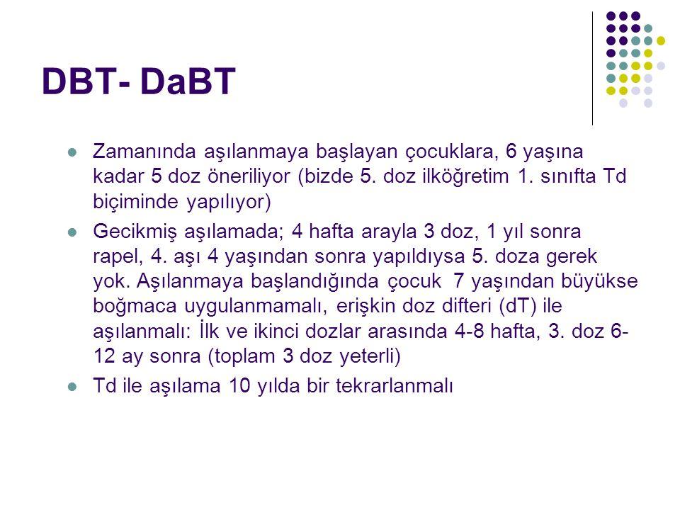 DBT- DaBT Zamanında aşılanmaya başlayan çocuklara, 6 yaşına kadar 5 doz öneriliyor (bizde 5.